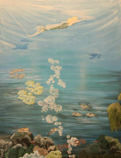 Maiomaid with jellyfishes ~ 70 x 90 cm ~ Acyrl auf Leinwand