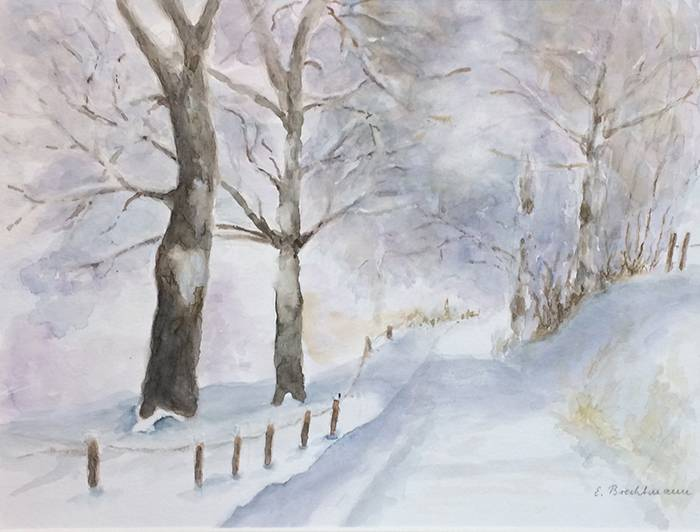 Winter ~ 36 x 48 cm ~ Aquarell auf Papier