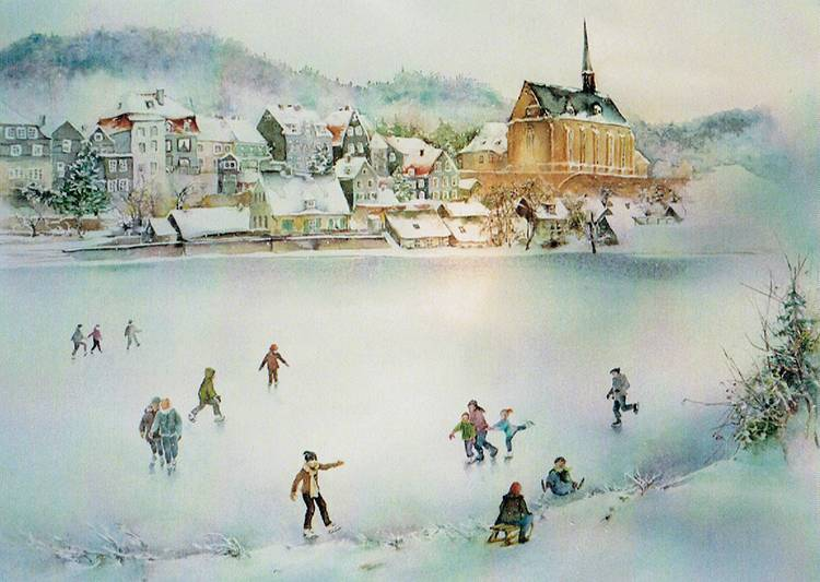 2. Winter in Beyenburg ~ ca. 40 x 50 cm ~ Aquarell auf Archespapier